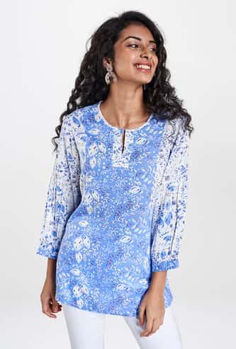 GLOBAL DESI Women Printed Three-Quarter Sleeves Top