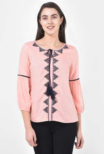 LATIN QUARTERS Women Embroidered Three-Quarter Sleeves Top