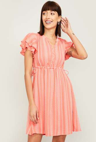 FAME FOREVER Women Printed A-line Dress with Ruffle Sleeves