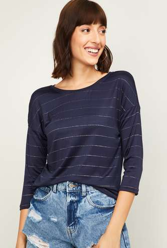 FAME FOREVER Women Striped Round Neck Top