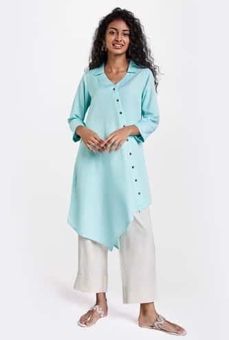 GLOBAL DESI Women Solid Tunic with Asymmetric Hem
