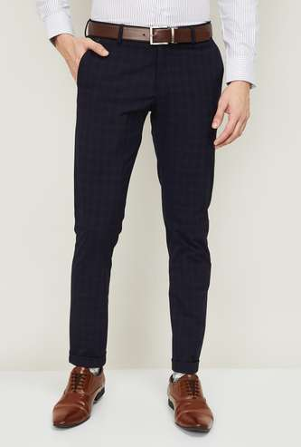 BLACKBERRYS Men Checked Super Slim Fit Formal Trousers