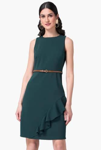 FABALLEY Women Solid Ruffled Sheath Dress