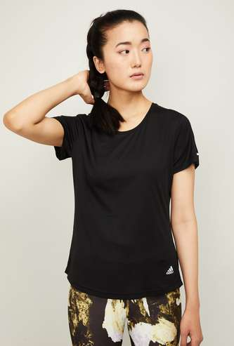 ADIDAS Women Solid Short Sleeves T-shirt