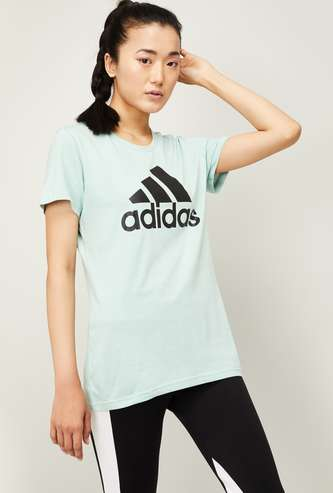ADIDAS Women Typographic Print Short Sleeves T-shirt