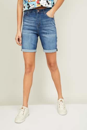 GINGER Women Light-Faded Denim Shorts