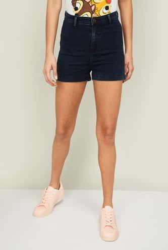 GINGER Women Solid Denim Shorts