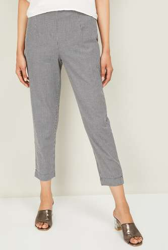 W Women Checked Straight Pants