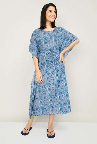GINGER Women Printed Tie-Up Night Dress