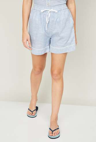 GINGER Women Striped Lounge Shorts