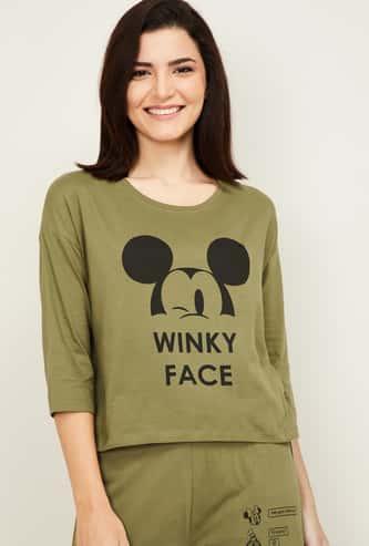 GINGER Women Printed Round Neck Lounge T-shirt