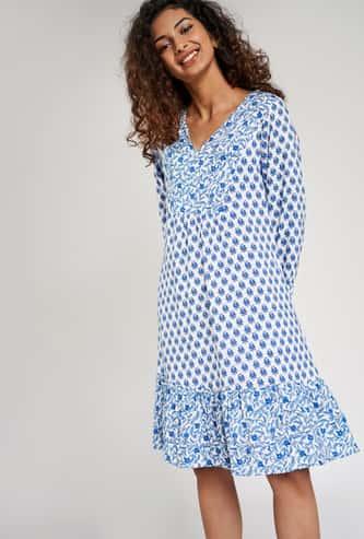 GLOBAL DESI Women Printed Three-Quarter Sleeves A-line Dress