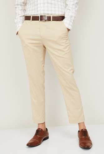 CODE Men Textured Slim Tapered Fit Formal Trousers
