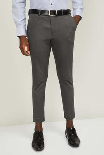 CODE Men Textured Super Slim Formal Trousers