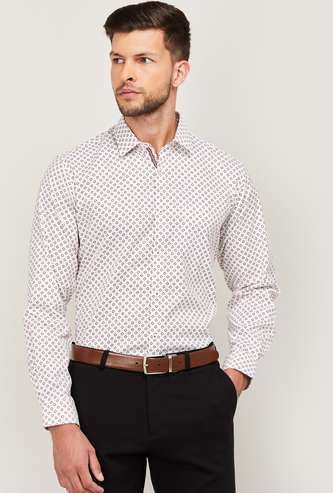VAN HEUSEN Men Printed Full Sleeves Slim Fit Formal Shirt
