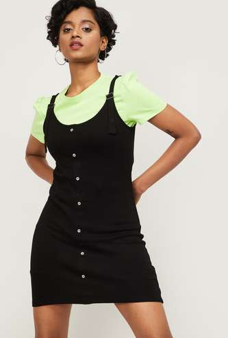 GINGER Women Solid Round Neck Pinafore Dress