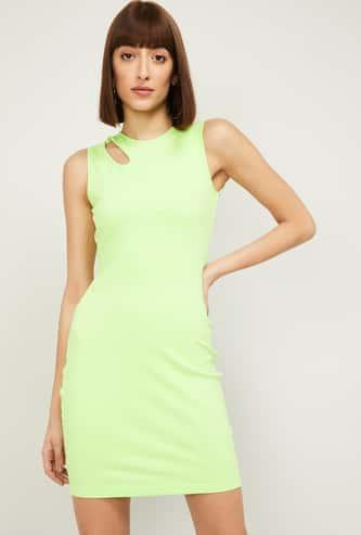 GINGER Women Solid Sleeveless Bodycon Dress