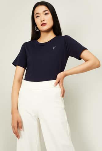 VAN HEUSEN Women Solid Short Sleeves T-shirt