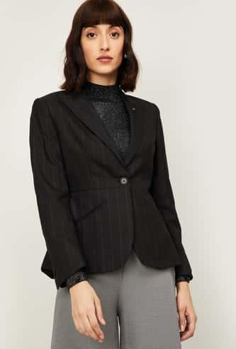 VAN HEUSEN Women Striped Full Sleeves Blazer