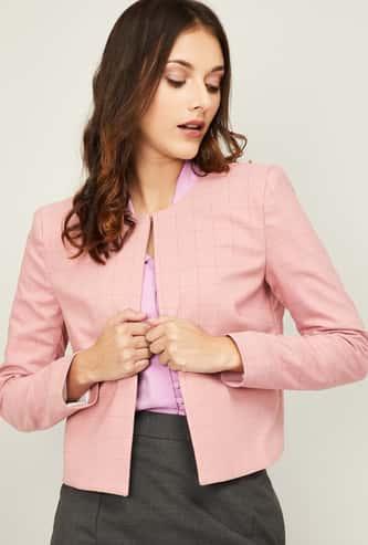 VAN HEUSEN Women Checked Full Sleeves Blazer