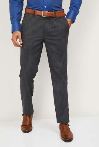LOUIS PHILIPPE Men Striped Slim Tapered Fit Formal Trousers