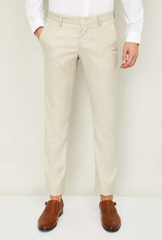 ALLEN SOLLY Men Solid Slim Straight Casual Trousers
