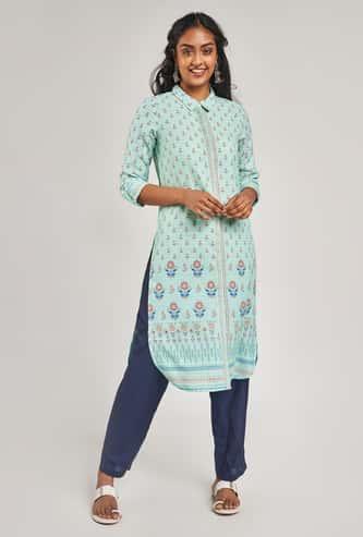 GLOBAL DESI Women Printed Three-Quarter Sleeves Straight Kurta