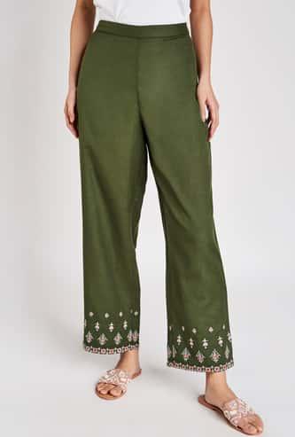 GLOBAL DESI Women Embroidered Straight Pants