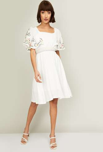 CODE Women Embroidered Flutter Sleeves A-Line Dress