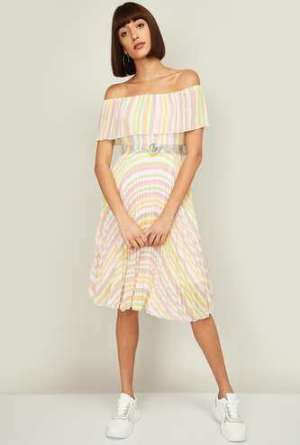 CODE Women Striped Bardot Dress