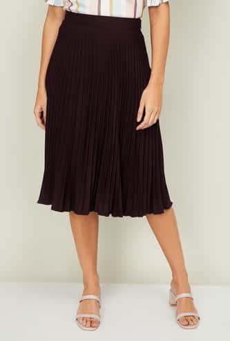 CODE Women Pleated Midi Skirt