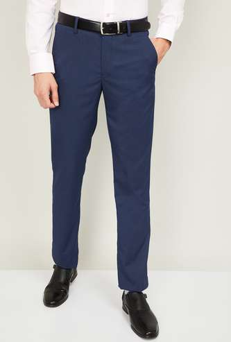 LOUIS PHILIPPE Men Textured Slim Tapered Fit Trousers