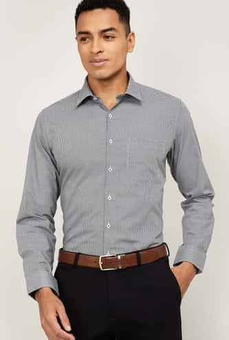VAN HEUSEN Men Textured Slim Fit Formal Shirt