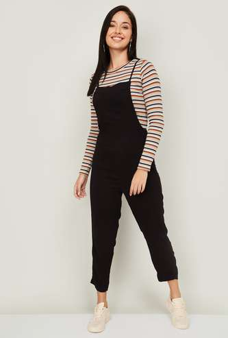 GINGER Women Solid Dungarees