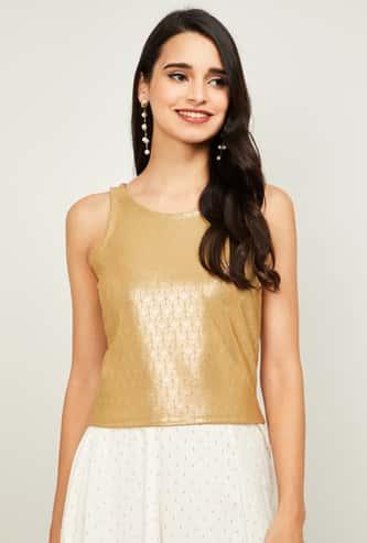 GLOBAL DESI Women Textured Sleeveless Top