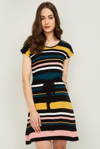 BOSSINI Women Striped Short Sleeves A-line Dress