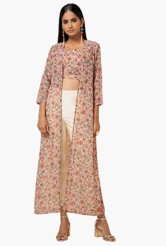 INDYA Women Floral Print Longline Shrug