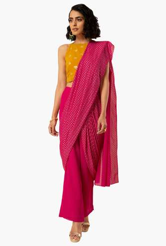 INDYA Women Solid Woven Straight Pants with Attached Dupatta