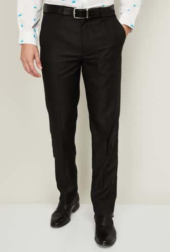 CODE Men Solid Regular Fit Formal Trousers