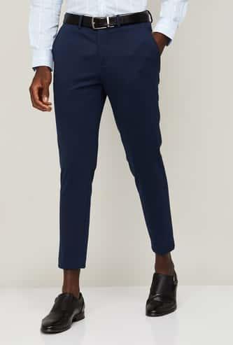 CODE Men Solid Super Slim Fit Formal Trousers