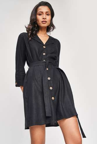 AND Women Solid Shirt Dress