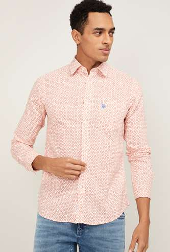 U.S. POLO ASSN. Men Printed Full Sleeves Casual Shirt