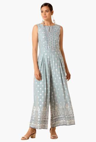 INDYA Women Printed Sleeveless Jumpsuit