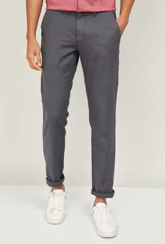 LP SPORT Men Textured Slim Straight Fit Trousers