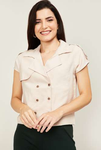 LATIN QUARTERS Women Solid Short Sleeves Top