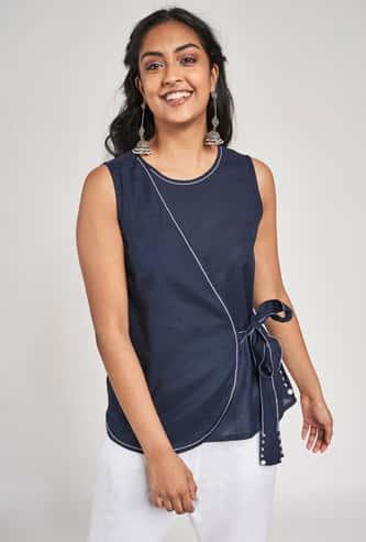 GLOBAL DESI Women Solid Wrap Style Ethnic Top