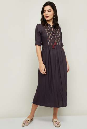 COLOUR ME Women Embroidered A-Line Ethnic Dress
