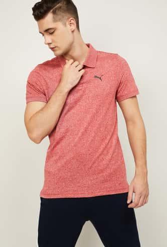 PUMA Men Textured Sports Polo T-shirt