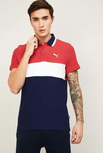 PUMA Men Colorblocked Regular Fit Polo T-shirt