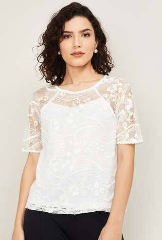 LATIN QUARTERS Women Lace Short Sleeves Top